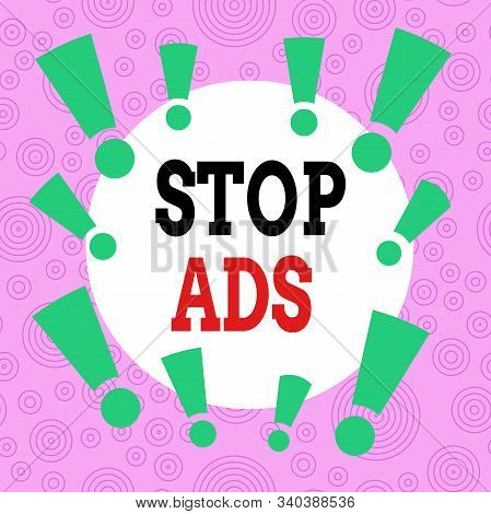 Handwriting text writing Stop Ads. Concept meaning program that will remove different kinds of advertising from Web Asymmetrical uneven shaped format pattern object outline multicolour design. stock photo