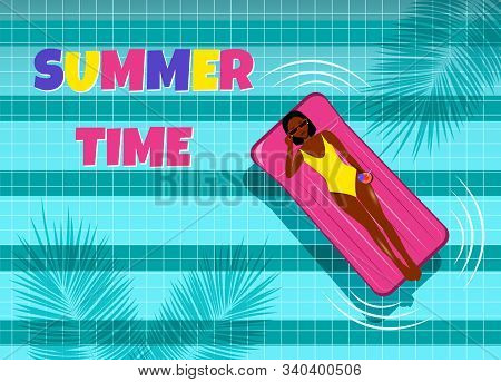 Summer, beautiful young African American woman with inflatable ring relaxes in blue pool vector. Hello Summer, summer time, summer day, summer day background, summer banners, summer flyer, summer design, summer with people in the pool, vector illustration stock photo