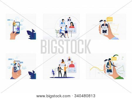 Candidate selection set. Recruit agents with smartphones analyzing candidate profiles. Flat vector illustrations. Human resource, career concept for banner, website design or landing web page stock photo