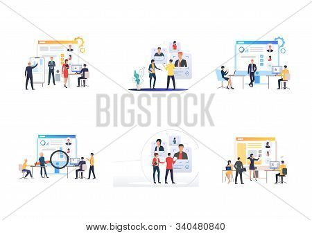 Recruitment agency set. Recruit agents with smartphones analyzing candidate profiles. Flat vector illustrations. Human resource, career concept for banner, website design or landing web page stock photo