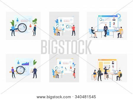 Recruit agency set. Agents or employers analyzing candidates resume. Flat vector illustrations. Business, analysis, personnel concept for banner, website design or landing web page stock photo