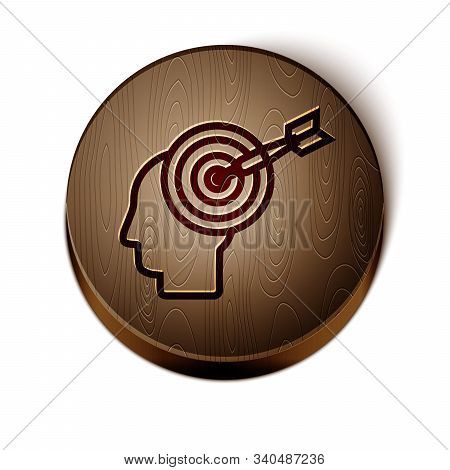 Brown line Head hunting concept icon isolated on white background. Business target or Employment sign. Human resource and recruitment for business. Wooden circle button. Vector Illustration stock photo