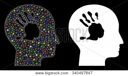 Flare mesh mental imprinting icon with lightspot effect. Abstract illuminated model of mental imprinting. Shiny wire frame polygonal mesh mental imprinting icon. stock photo