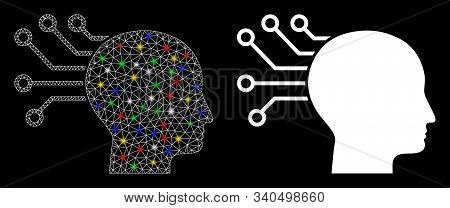 Glossy mesh neural interface icon with glitter effect. Abstract illuminated model of neural interface. Shiny wire carcass triangular mesh neural interface icon. stock photo