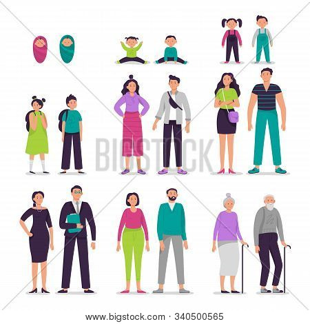 Different ages people couples. Man and woman characters couple, seniors persons, boy and girl kids vector illustration set. Sister and brother growing up together. Siblings aging process, life cycle stock photo
