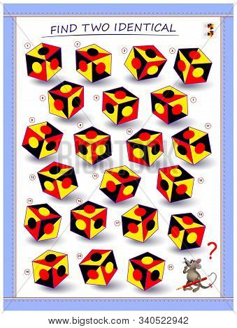 Need to find two identical cubes. Logic puzzle game for children and adults. Printable page for kids brain teaser book. Developing spatial thinking skills. IQ training test. Vector cartoon image. stock photo