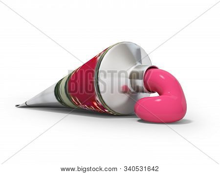 3D rendering acrylic paint in tube on white background with shadow stock photo
