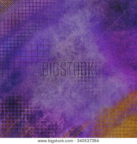 Digital Grunge purple with color accents abstract textured background stock photo