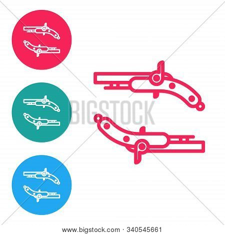 Red line Vintage pistols icon isolated on white background. Ancient weapon. Set icons in circle buttons. Vector Illustration stock photo