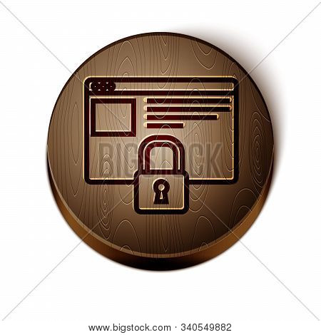 Brown line Secure your site with HTTPS, SSL icon isolated on white background. Internet communication protocol. Wooden circle button. Vector Illustration stock photo