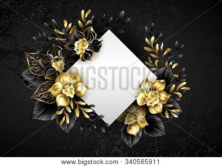 White banner in shape of rhombus, decorated with black and gold, jewelry orchids with twigs on textured background. stock photo