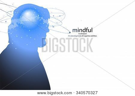 Profile of a young man with mental activity brain and consciousness, with the cosmos as a brain. scientific concept. brain and creativity. stock photo
