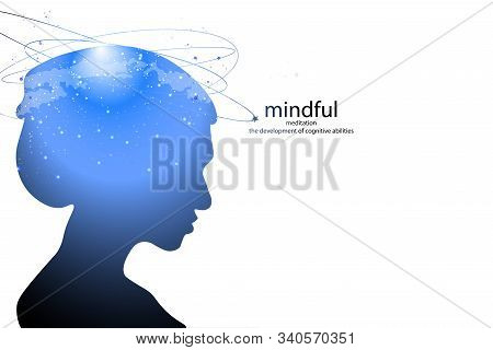 Profile of a young woman with mental activity brain and consciousness, with the cosmos as a brain. scientific concept. brain and creativity. stock photo