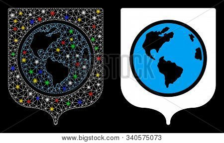 Flare mesh Earth shield icon with glitter effect. Abstract illuminated model of Earth shield. Shiny wire frame triangular mesh Earth shield icon. Vector abstraction on a black background. stock photo