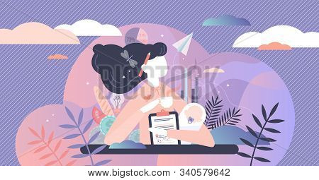 Multitasking busy mom and business woman,vector illustration tiny person concept. A woman trying to juggle and balance family life,kids,career and hose work. Mothers troubled mind confused thoughts. stock photo