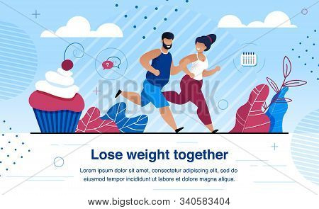 Weight Lose and Family Healthy and Active Lifestyle Trendy Flat Vector Banner, Poster Template with Happy African-American Couple, Wife and Husband Dieting, Jogging Outdoors Together Illustration stock photo