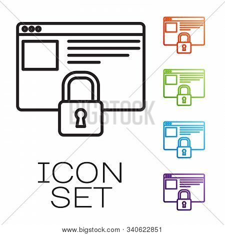 Black line Secure your site with HTTPS, SSL icon isolated on white background. Internet communication protocol. Set icons colorful. Vector Illustration stock photo