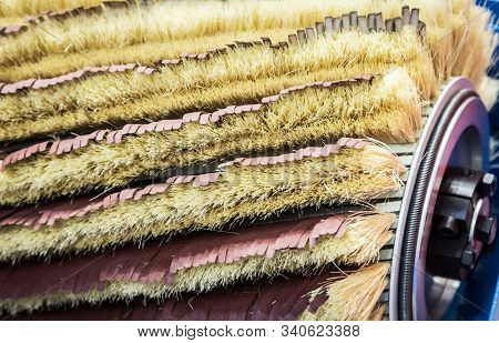 grinding wheels with sandpaper and brushes for grinding stock photo