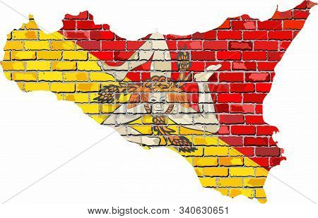 Sicily Map On A Brick Wall - Illustration,  \ Sicily Map With Flag Inside