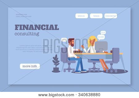 Financial consulting landing page flat template. Banking and accounting service website homepage layout. Business consultant and client cartoon characters. Finance literacy illustration stock photo