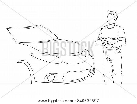 One continuous single drawn line art doodle mechanic, car, garage, service, auto, repair, vehicle, shop, engine, workshop .Isolated image of a hand drawn outline on a white background. stock photo