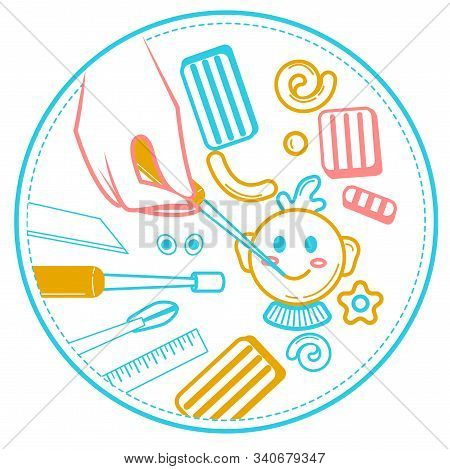 Illustration of a handmade occupation, in the form of hands that sculpt from polymer clay. Icon, logo in the linear style stock photo