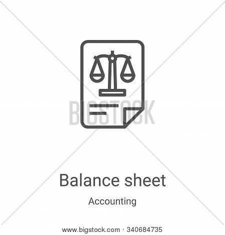 balance sheet icon vector from accounting collection. Thin line balance sheet outline icon vector illustration. Linear symbol for use on web and mobile apps, logo, print media stock photo