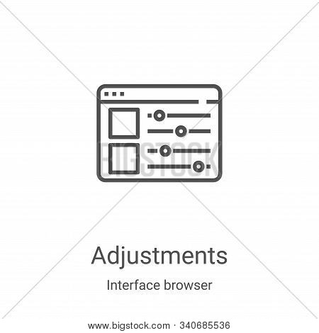 adjustments icon vector from interface browser collection. Thin line adjustments outline icon vector illustration. Linear symbol for use on web and mobile apps, logo, print media stock photo