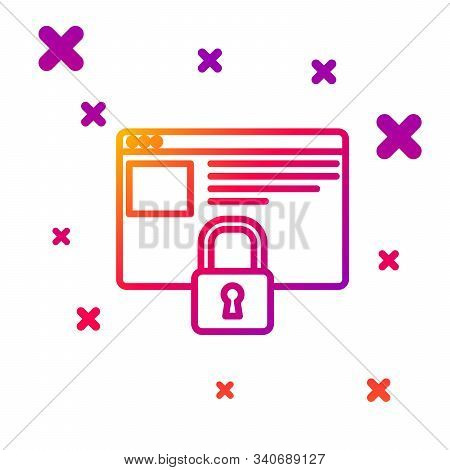 Color line Secure your site with HTTPS, SSL icon isolated on white background. Internet communication protocol. Gradient random dynamic shapes. Vector Illustration stock photo