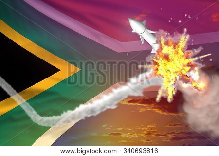 South Africa intercepted nuclear warhead, modern antirocket destroys enemy missile concept, military industrial 3D illustration with flag stock photo