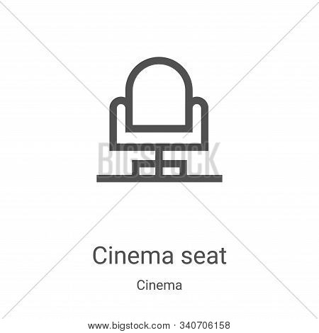 cinema seat icon vector from cinema collection. Thin line cinema seat outline icon vector illustration. Linear symbol for use on web and mobile apps, logo, print media stock photo
