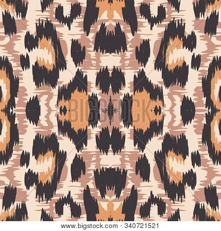 Ebony Jaguar Animal Vector Seamless Pattern. Yellow Dyed Panther Handmade Tile Art Texture. Sepia Carpet Grunge Painting Design. Burnt Leopard Handmade Tiles. stock photo