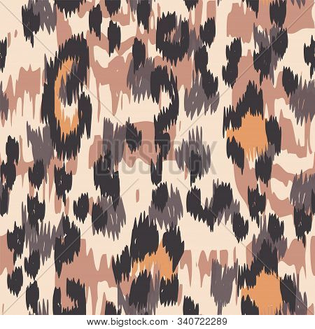 Black Panther Dyed Vector Seamless Pattern. Sepia Drawing Cheetah Handmade Tile Art Designs. Ebony Handmade Tile Art Background. Ebony Leopard Handmade Tile Art. stock photo