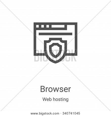 browser icon vector from web hosting collection. Thin line browser outline icon vector illustration. Linear symbol for use on web and mobile apps, logo, print media stock photo