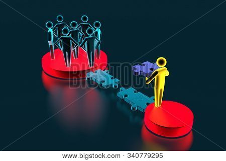 3d people - human character - person. 3d figure last jigsaw piece puzzle. Concept of contact bridge from the puzzle. 3d rendering stock photo
