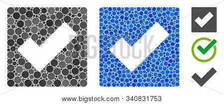 Check composition of round dots in various sizes and color tones, based on check icon. Vector round dots are organized into blue mosaic. Dotted check icon in usual and blue versions. stock photo