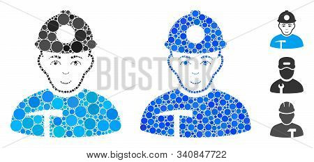 Miner composition of round dots in various sizes and color hues, based on miner icon. Vector round dots are organized into blue composition. Dotted miner icon in usual and blue versions. stock photo
