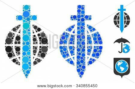 Sword globe mosaic of round dots in various sizes and color tints, based on sword globe icon. Vector round dots are combined into blue mosaic. Dotted sword globe icon in usual and blue versions. stock photo