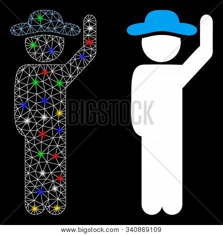 Glowing mesh gentleman hello icon with sparkle effect. Abstract illuminated model of gentleman hello. Shiny wire carcass triangular mesh gentleman hello icon. Vector abstraction on a black background. stock photo