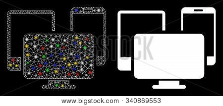 Glossy mesh electronic devices icon with glare effect. Abstract illuminated model of electronic devices. Shiny wire carcass triangular mesh electronic devices icon. stock photo