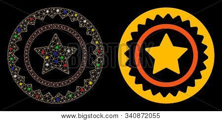 Glossy mesh quality stamp icon with glare effect. Abstract illuminated model of quality stamp. Shiny wire carcass polygonal mesh quality stamp icon. Vector abstraction on a black background. stock photo