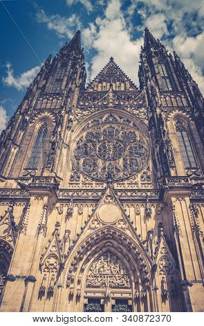 Facade exterior of St. Vitus Cathedral or The Metropolitan Roman Catholic Cathedral of Saints Vitus, Wenceslaus and Adalbert in Prague Castle Hradcany Lesser Town district, Bohemia, Czech Republic stock photo