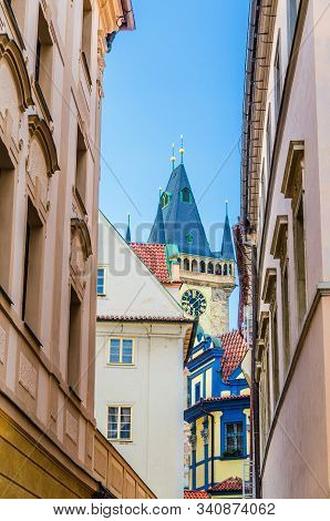 Fairytale Prague, narrow streets of Prague, Top of Old Town City Hall Tower, colored houses of old Prague, summer Prague, historical city centre, Bohemia, Czech Republic, top 10 Prague attractions stock photo
