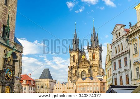 Prague Old Town Square (Stare Mesto) historical city centre with Astronomical Clock (Orloj) of Old Town City Hall, Stone Bell House, Gothic Church of Our Lady before Tyn, Bohemia, Czech Republic stock photo