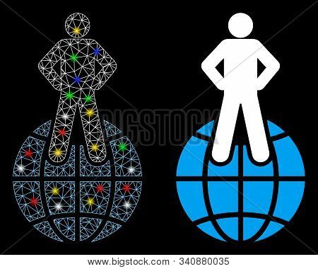 Glossy mesh world commander icon with glare effect. Abstract illuminated model of world commander. Shiny wire carcass polygonal mesh world commander icon. Vector abstraction on a black background. stock photo