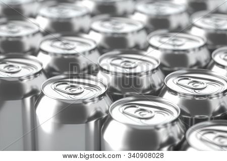 The rain drops fell on cans, cans with dark background, 3d rendering. Computer digital drawing. stock photo