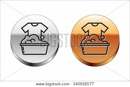 Black line Plastic basin with soap suds icon isolated on white background. Bowl with water. Washing clothes, cleaning equipment. Silver-gold circle button. Vector Illustration stock photo