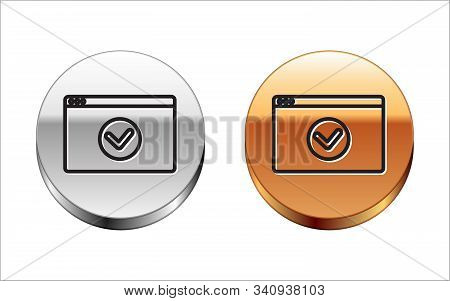 Black line Secure your site with HTTPS, SSL icon isolated on white background. Internet communication protocol. Silver-gold circle button. Vector Illustration stock photo
