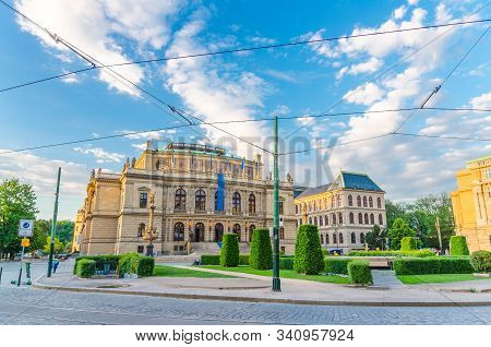 Czech Philharmonic and opera house - Rudolfinum neo-renaissance building concert hall on Jan Palach Square in Old Town of Prague historical center, Czech Republic, Bohemia, Europe stock photo