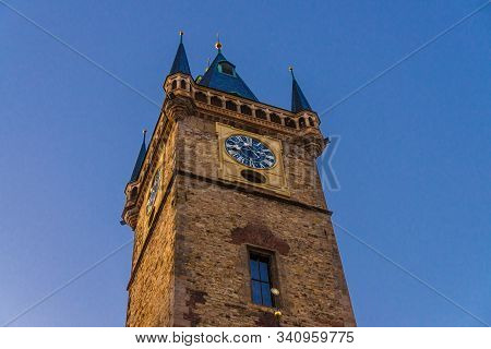 Clear blue sky of Prague, Main tower of the Old Town Hall, City Hall is made in Gothic Style, Prague chimes, observation deck of The Old Town Square (Stare Mesto), Bohemia, Czech Republic stock photo